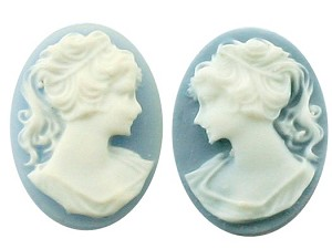 25x18mm ponytail girl resin cameo pair blue white S2049