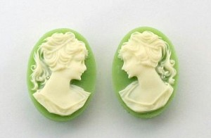18x13mm green and ivory resin ponytail girl cameo matched pair S2044