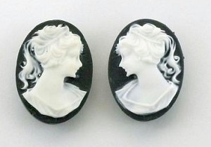 18x13mm black and WHITE resin ponytail girl cameo matched pair S2045