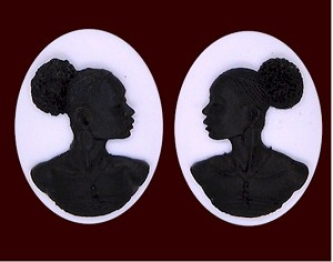 40x30mm Matched Pair African American Black White Resin Cameo Afro Ethnic S2064