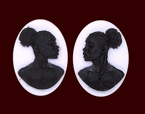 18x13mm African American Cameo Matched Pair Black White Resin Cameos S2066