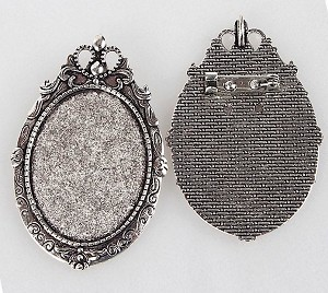 40x30mm Antique Silver Cameo Backing  Pendant and Brooch Setting with Pin