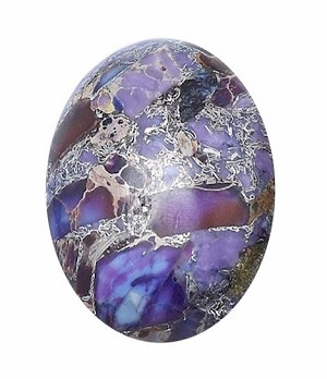 25x18mm Matrix Synthetic Multi Color Cabachon Stone Silver foiled S2090