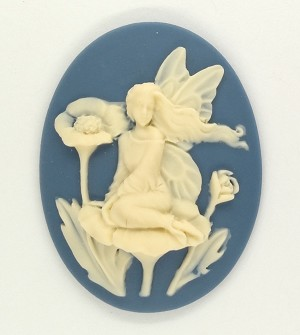 40x30mm  Elf Pixie fairy Pale Blue Resin CAMEO garden embellishment cosplay  S2141