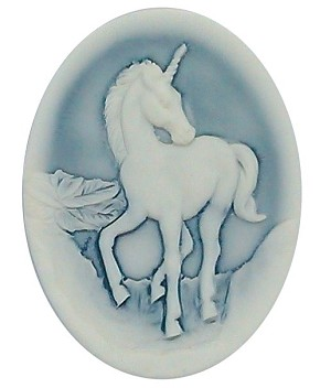 40x30mm Milky Blue Unicorn Resin Cameo 324x  S2143