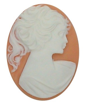 40x30mm DARK Peach and White Pony Tail Woman Resin Cameo S2147