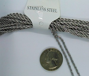 19 inch Stainless Steel Rope Chain Necklace with Lobster Claw Clasp 304 stainless 2.2mm  thick S2176