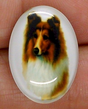25x18mm Collie Lassie Dog Glass Cabochon Cameo Jewelry Finding S2219