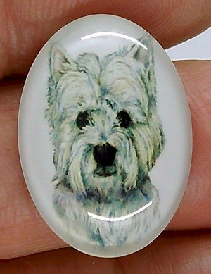 25x18mm West Highland Westie White Terrier Dog Glass Cabochon Cameo Jewelry Finding S2220