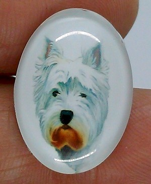 25x18mm West Highland Westie White Terrier Dog Glass Cabochon Cameo Jewelry Finding S2224