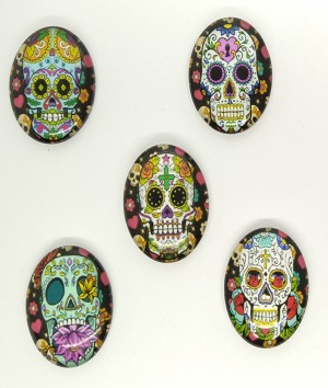 5pcs. Set 25x18mm Glass Sugar Skull Calavera Mexican Day of the Dead Cabochon S4023