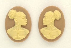 18x13mm pair of African American Black Woman Resin Cameo Cabochon Tan Ivory S4044