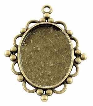 40x30mm Antique Bronze Pendant Cabochon Setting Bali Style Cameo Setting S4053