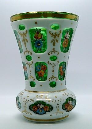 Antique Moser Vase Czech Bohemian Cut Glass White To Green