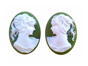 18x13mm green and WHITE resin ponytail girl cameo matched pair S2062