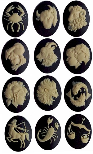 40x30mm Set Zodiac Resin Cameos celestial astrology Horoscope signs cabachon
